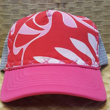 Pink and Red Hand Stitched Hawaiian Trucker Hat