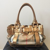 Burberry Metallic Bronze and Shimmer Shoulder Bag