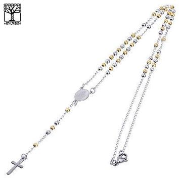 """Jewelry Kay style 3 mm Rosary Stainless Steel in G / S Guadalupe & Cross 20"""" Necklace SPY 501 SG"""