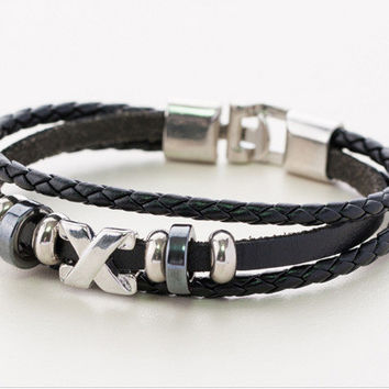 New Arrival Gift Stylish Awesome Great Deal Hot Sale Shiny Leather Black Fashion Men Accessory Bracelet [6526717635]