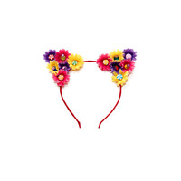 Candy Cat Ear Headband, Floral Cat Ears, Kitty Ears Headband, Rave Costume, Candy Costume, Coachella, Electric Daisy Carnival, Ezoo, PLUR