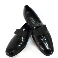 Vintage Florsheim Patent Black Leather Shoes Bow Oxfords Designer loafers Dress shoes Mens 8.5D
