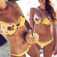 1 Set Sexy Women Bikini Set Swimwear Push-Up Padded Bra Swimsuit Beachwear Bikinis Women 2017 Print Swimsuits Brazilian