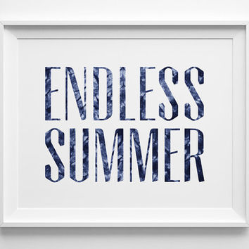 Endless Summer Poster, Navy Beach Decor, Surf Art, Shibori Batik Denim, The Endless Summer Print, Palm Print, Navy Blue and White Surf Decor