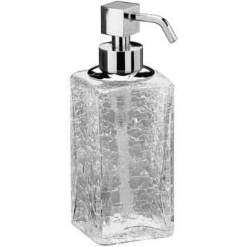 Box Crackled Glass Table Pump Liquid Soap Lotion Dispenser for Bath, Kitchen