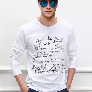 ONETOW for adult science t shirt Teen Math formula men long sleeve t-shirt 2017 new style spring 100% cotton high quality top tees