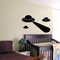 KIDS WALL ART STICKER BABY ROOM NURSERY BOY GIRL BEDROOM FUNNY UFO SHIP SPACE 04