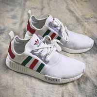 Gucci X Adidas Nmd R 1 Boost White Sport Running Shoes - Best Online Sale