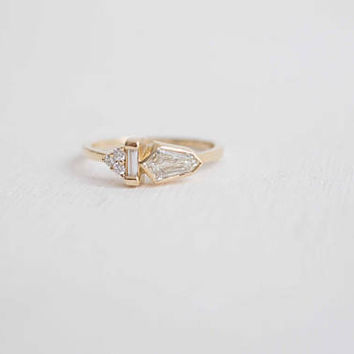 Bullet Diamond Cluster Engagement Ring | 14 Recycled Gold