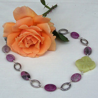 Fushia Agate and Olive Jade Flower Necklace with Silver tone Oval rings, Gemstone Earrings, Handmade Jewelry, UK Seller