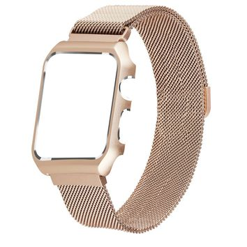 Apple Watch Band 42mm,LikeItY Milanese Loop Stainless Steel Magnetic Band with Metal Case for Apple Watch Series 1/2 - Anti-scratch Soft Rubber Lining Replacement Strap for iWatch - Retro Gold