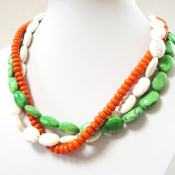 Multi Strand Necklace,  Multi Colored Layered Gemstone Necklace, Orange White Green Turquoise Silver Necklace