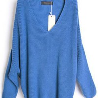 Loose Bat Sleeve Blue Sweater S001736