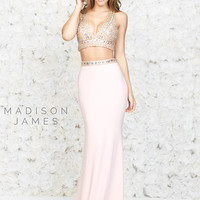 Beaded Crop Top Madison James Prom Dress 15-182