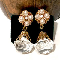 Huge Lucite Drop Dangle Earrings, Faux Pearl, Clear Rhinestone, Pierced, Gold Tone, Elaborate Statement Earrings, 1980s Vintage Gift For Her