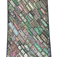 Mogul India Authentic Artisan Wall Tapestry Headboard Green Kutch Embroidered Patchwork Bohemian Throw 90 X 80