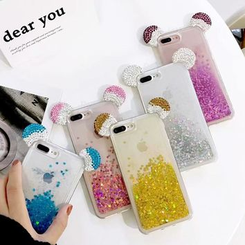 Shine Dynamic Liquid Quicksand Phone Case For iphone 8 7 X 6 plus Bling Glitter Rhinestone Mickey Mouse Ear Cute Cover