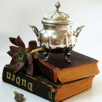 Vintage Pewter Sugar Bowl , Victorian style sugar bowl .