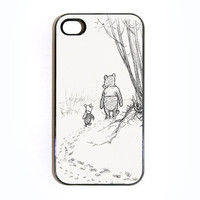 Apple iPhone 4 4G 4S 3D Printed Matte  Case Skin Cover Unique Winnie D Pooh and Piglet Design Available in Black or White Hard Case.