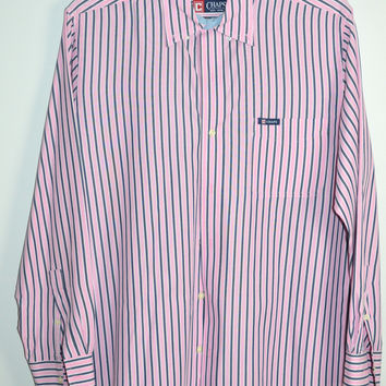 Chaps Easy Care Pink Stripe Dress Shirt Always Dry Cleaned Large