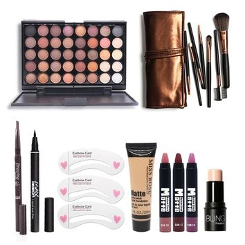 Makup Tool Kit 8 PCS Cosmetics Eyeshadow Matte Lipstick With Foundation Eyeliner Makeup Brush Set