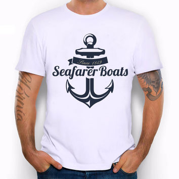 Men's Retro Sailor Anchor Print T-Shirt Vintage Letter T shirt Men Summer White T shirt  Hipster Tees