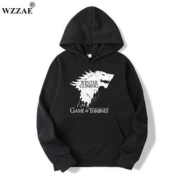 WZZAE 2017 New Game of Thrones Direwolf Men Hoodies And Sweatshirts Winter is Coming Cotton Hooded Top Quality Plus Size M-XXXL