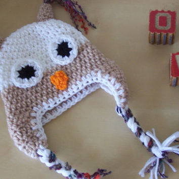 SALE baby boy crochet owl animal hat infant by stitchesbystephann
