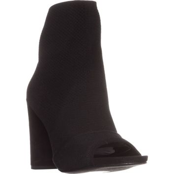 Kenneth Cole Dahvi Peep-Toe Ankle Boots, Black/Black, 7 US / 37.5 EU