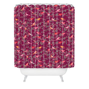 Joy Laforme Sweet Songbird In Deep Pinks Shower Curtain