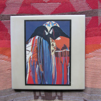 70s 80s Native American Decor / Tribal Inspired Painted Tile / Roberts Painted Ceramic Tile / Multi Color Art Reproduction Painted Tile