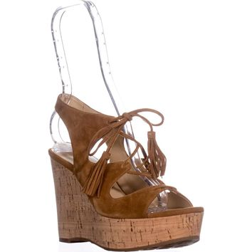 Ivanka Trump Zenia Tassel Lace Up Wedge Sandals, Medium Brown, 7 US