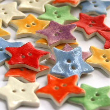 Handmade Ceramic Star Buttons perfect for Crafts