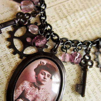 Steampunk Lady Necklace Victorian Tattooed Lady by DubiousDesign