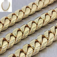 """Mens Womens Modern Heavy 14k Solid Yellow Gold 31"""" Cuban Necklace Chain 304g"""
