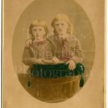 Cabinet Card Photo - Victorian Cute Little Girls, Sisters Matching Outfits Hand Tinted Portrait - Haes & Vandyk of London - Antique Photo