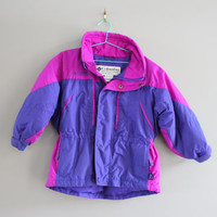 Rare Toddler Columbia Ski Jacket Purple Girl's Winter Jacket Parka Columbia Windbreaker Vintage 90s Size 3 - 4 Years Old