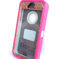 OtterBox Defender Series Case iPhone 5s Glitter Cute Sparkly Bling Defender Series Custom Case Peony Pink/Sunstone