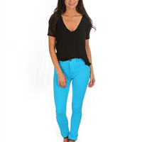 Turquoise Soft Skinny Pants