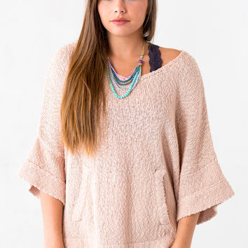 Cuddle Buddy 3/4 Sleeve Sweater in Pink