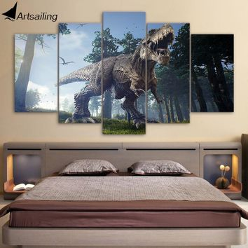 """ARTSAILING"" Canvas Paintings Printed 5 Pieces Jurassic Park Dinosaurs Wall Art"