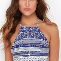 Riverside Strumming Blue Print Crop Top