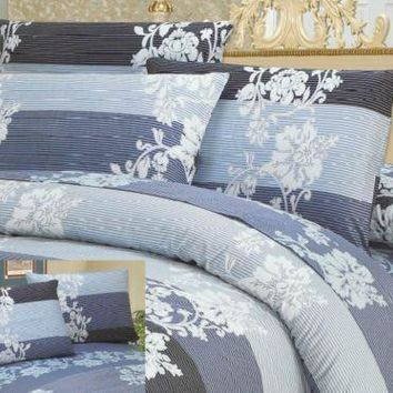 DaDa Bedding Royal Navy Blue Jacquard Floral Striped Duvet Cover & Pillow Cases Set (DCM8153)