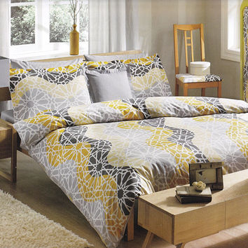 Customizable Queen Size White Grey and Yellow Geometric Design Waves Printed, Moroccan Pattern Bedding Set