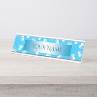 Pretty small blue hearts. Add your own text. Desk Name Plate