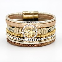 VONNOR Jewelry Bracelets for Women Multi-layer Leather Rope Rhinestone Alloy Accessories