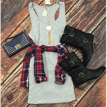 Basic Tank Dress: Grey