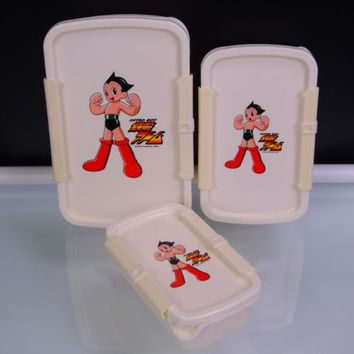 3 Astro Boy Stackable Fridge Containers Anime Manga VTG Tezuka Productions SPEJ