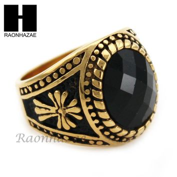 MEN STAINLESS STEEL HIP HOP CROSS 14K GOLD TONE BLACK ONYX RING 8-12 SR033CL