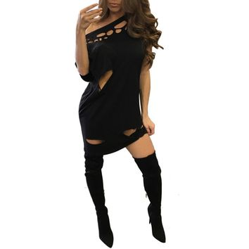 Summer Dress Sexy Women Lady Casual Cotton Short Sleeve Strapless Holes Hollow Off Shoulder Dress Sexy